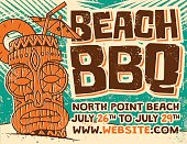 A quirky, 1960s styled Tiki Beach BBQ poster with palm fronds. A subtle grunge texture gives this a screen printed effect. The limited color palette (consistent with screen printing) includes a dark brown, teal and muted orange, on a tan background to look like weathered and aged paper. Download includes an AI10 EPS and a high resolution JPEG file.