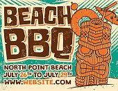 Retro Aloha Beach BBQ Tiki Screen Printed Poster