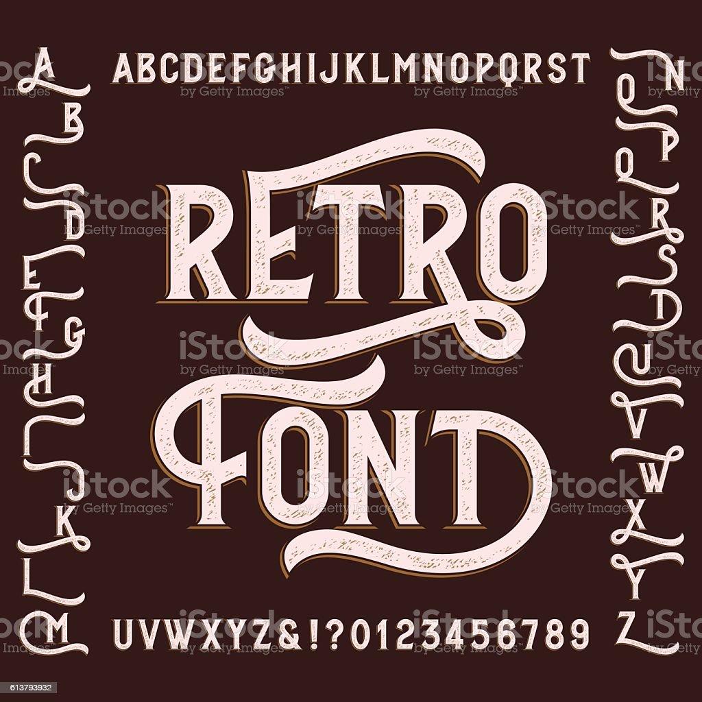 Retro alphabet font with alternates. vector art illustration