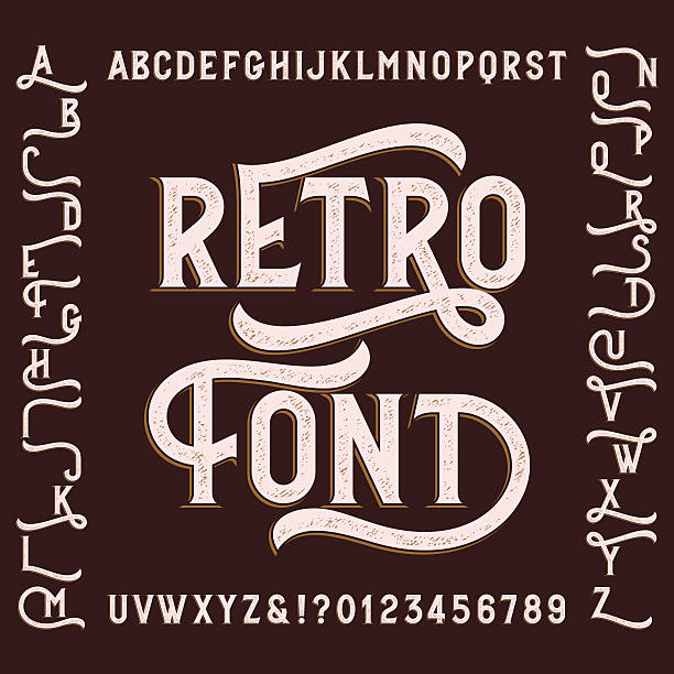 Retro alphabet font with alternates. vector art illustration