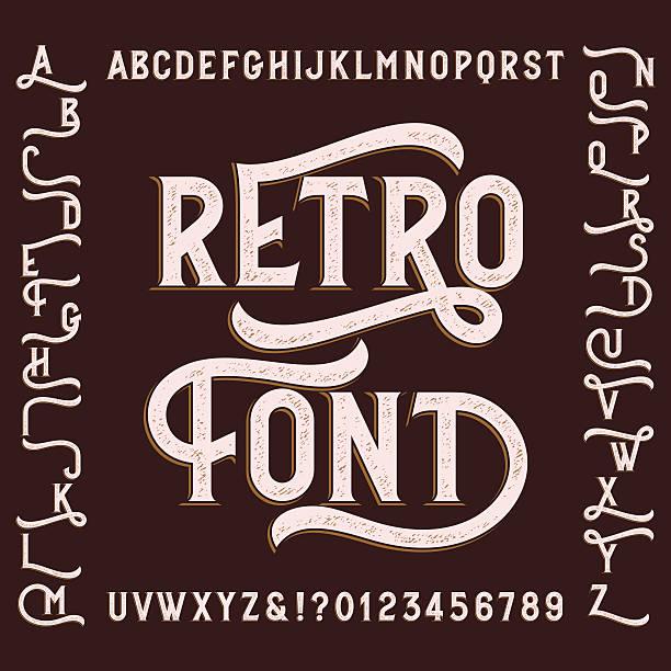 retro alphabet font with alternates. - retro fonts stock illustrations, clip art, cartoons, & icons