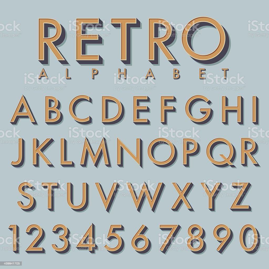 Retro alphabet in tan color on mint background vector art illustration