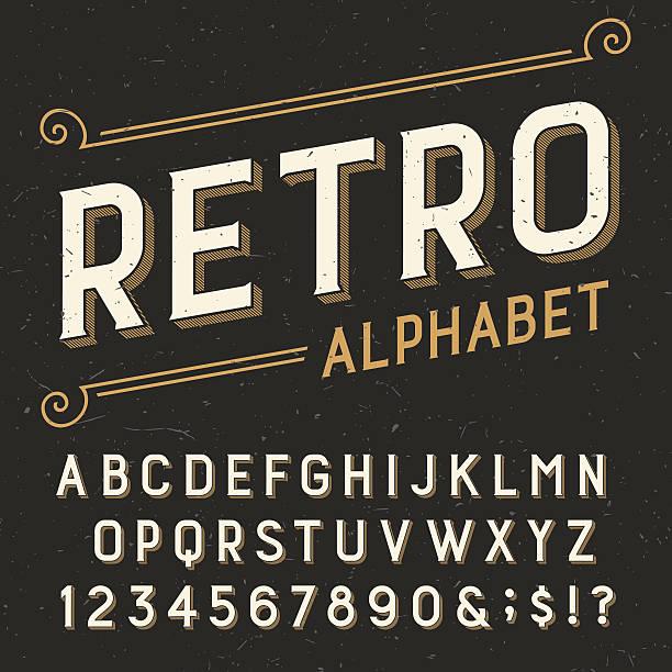 retro alphabet vector font. - retro fonts stock illustrations, clip art, cartoons, & icons
