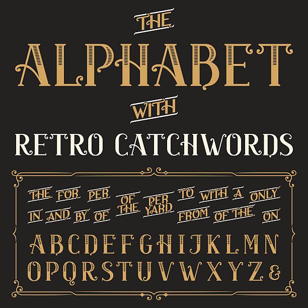 Retro alphabet vector font with catchwords. vector art illustration