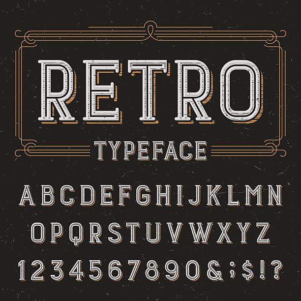 stockillustraties, clipart, cartoons en iconen met retro alphabet vector font with distressed overlay texture. - borden en symbolen
