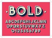 Vector of retro font and alphabet