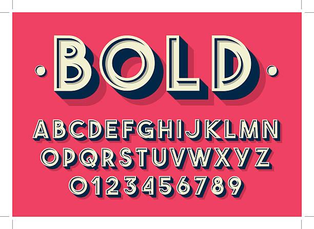retro alphabet - retro fonts stock illustrations, clip art, cartoons, & icons