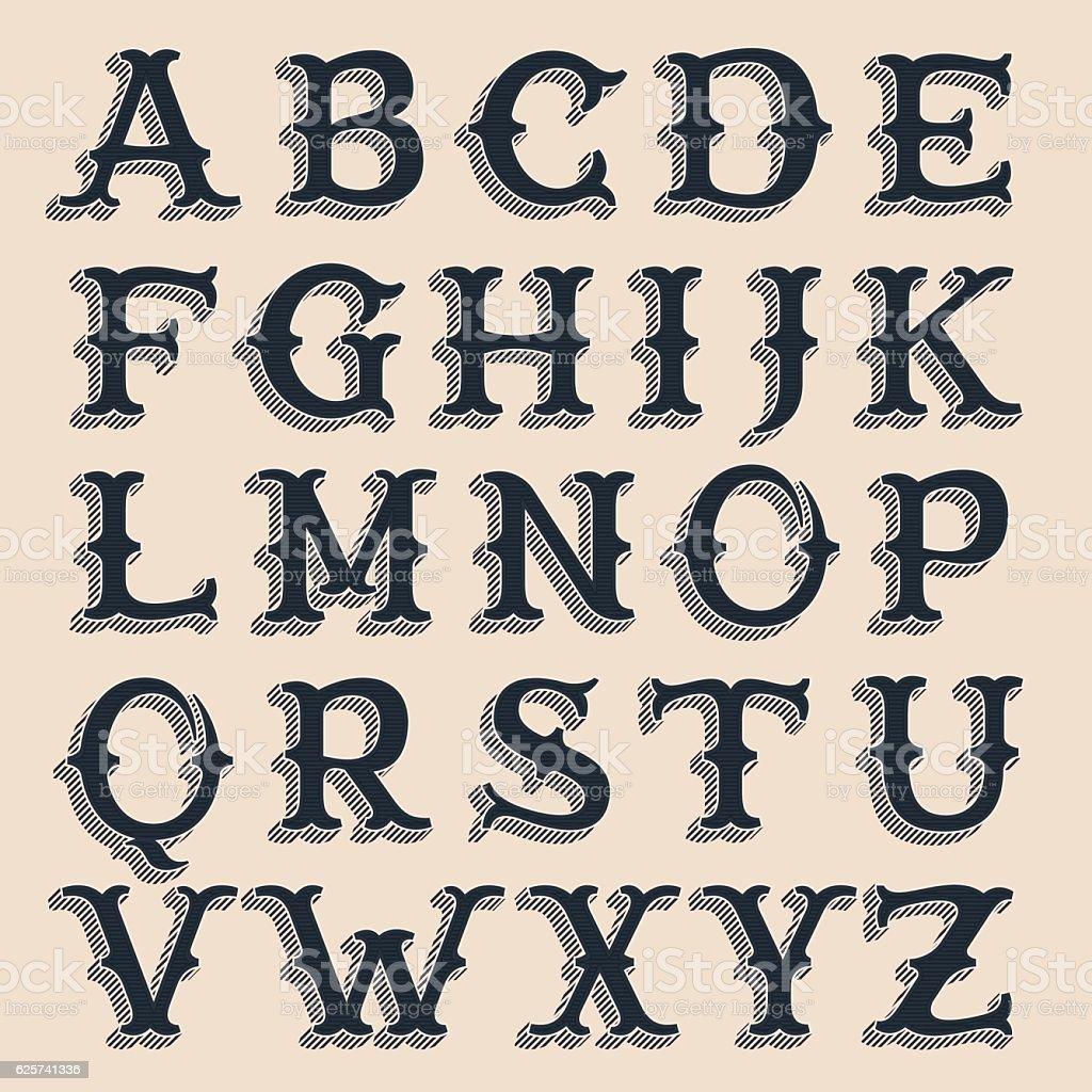 Retro alphabet. Vintage western style volume typeface with lines vector art illustration