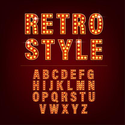 Retro alphabet with retro letter light on golden background. Number font. Vector 3d. Creative vector font