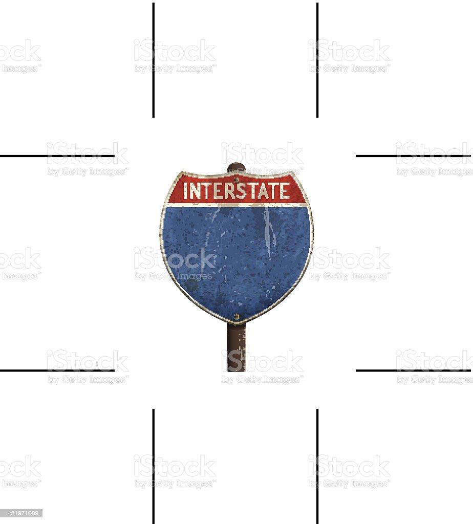 retro American interstate road sign vector art illustration