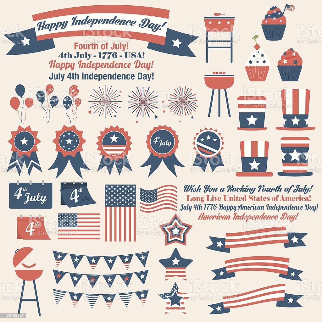 7 月 4 日レトロアメリカン独立記念日の要素 お祝いのベクターアート