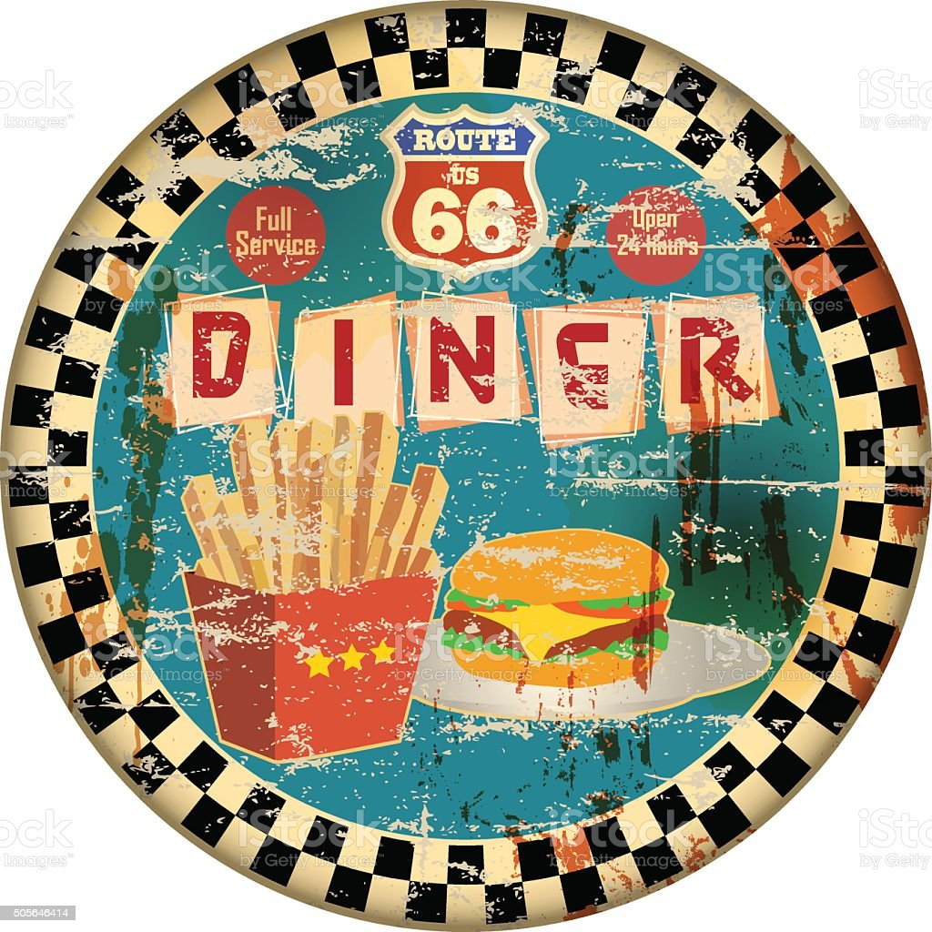 retro american route 66 diner sign vector art illustration