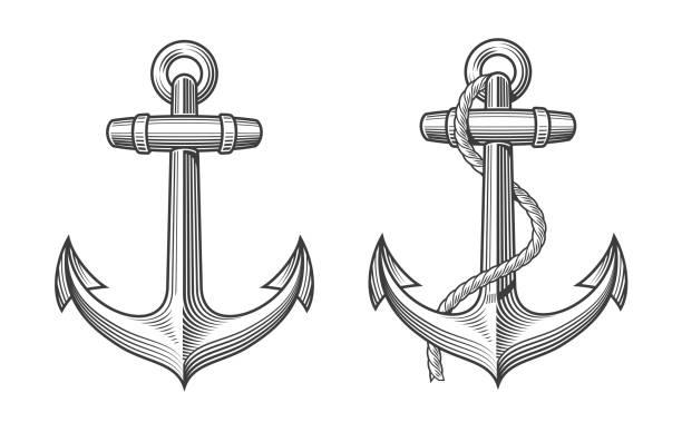 illustrations, cliparts, dessins animés et icônes de 2 ancres rétro avec une corde - tatouages marins