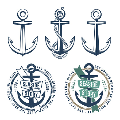 3 retro anchors with a rope