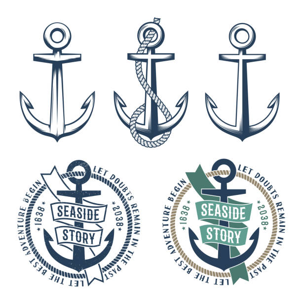 3 retro anchors with a rope vector art illustration