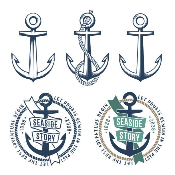 ilustraciones, imágenes clip art, dibujos animados e iconos de stock de 3 anclas retros con una cuerda - tatuajes náuticos