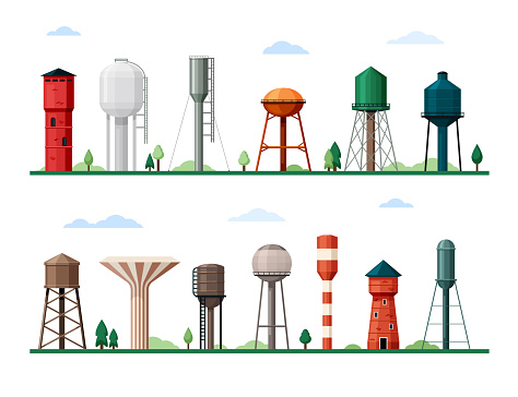 Retro and modern water towers set. Geometric industrial constructions tanks for storing supplies drinking liquid.