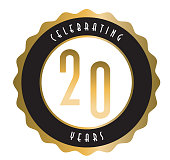 istock Retro and Vintage 20 Year Anniversary Label design in gold and black colors 1336142654