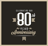 istock Retro and Vintage 80 Year Anniversary Label design on black background 1321022935