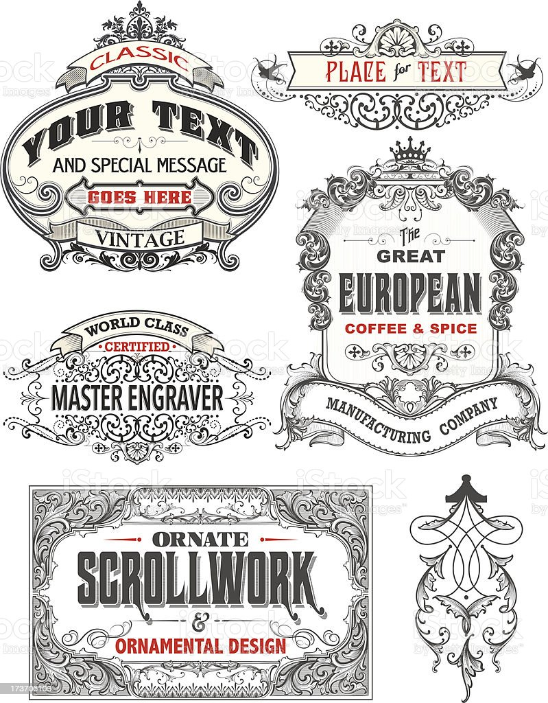 Retro Antique Frame Labels vector art illustration