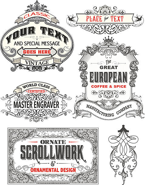 Retro Antique Frame Labels vector art illustration