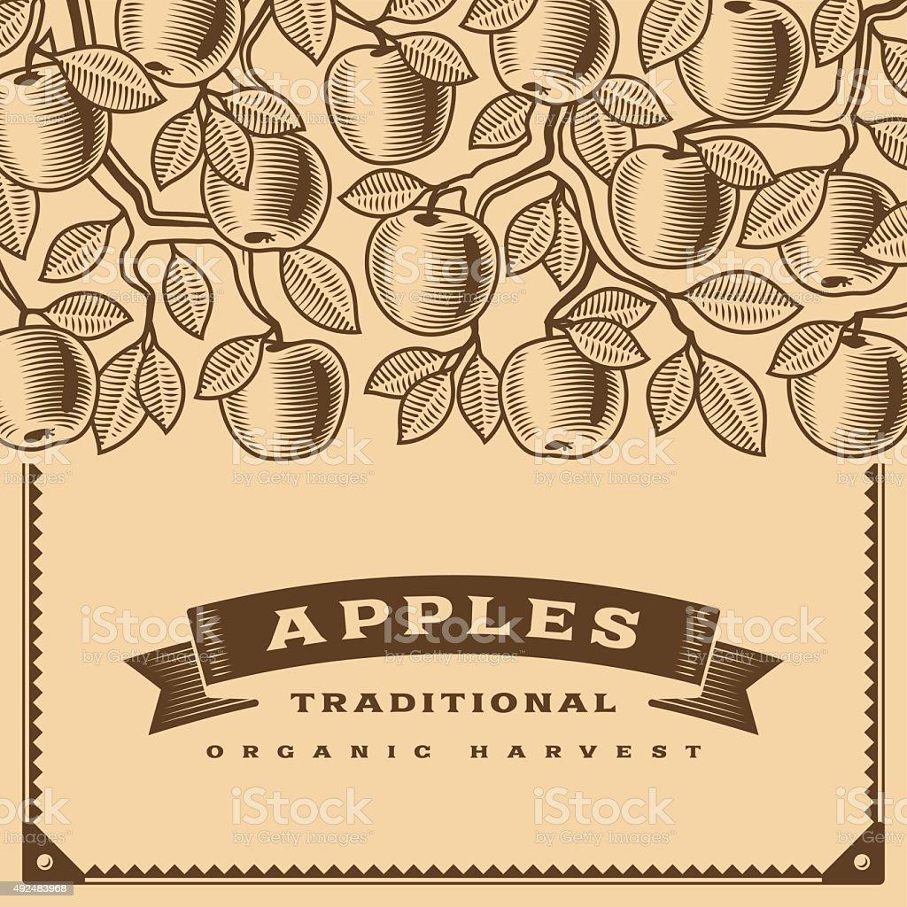 Retro apple harvest card brown vector art illustration
