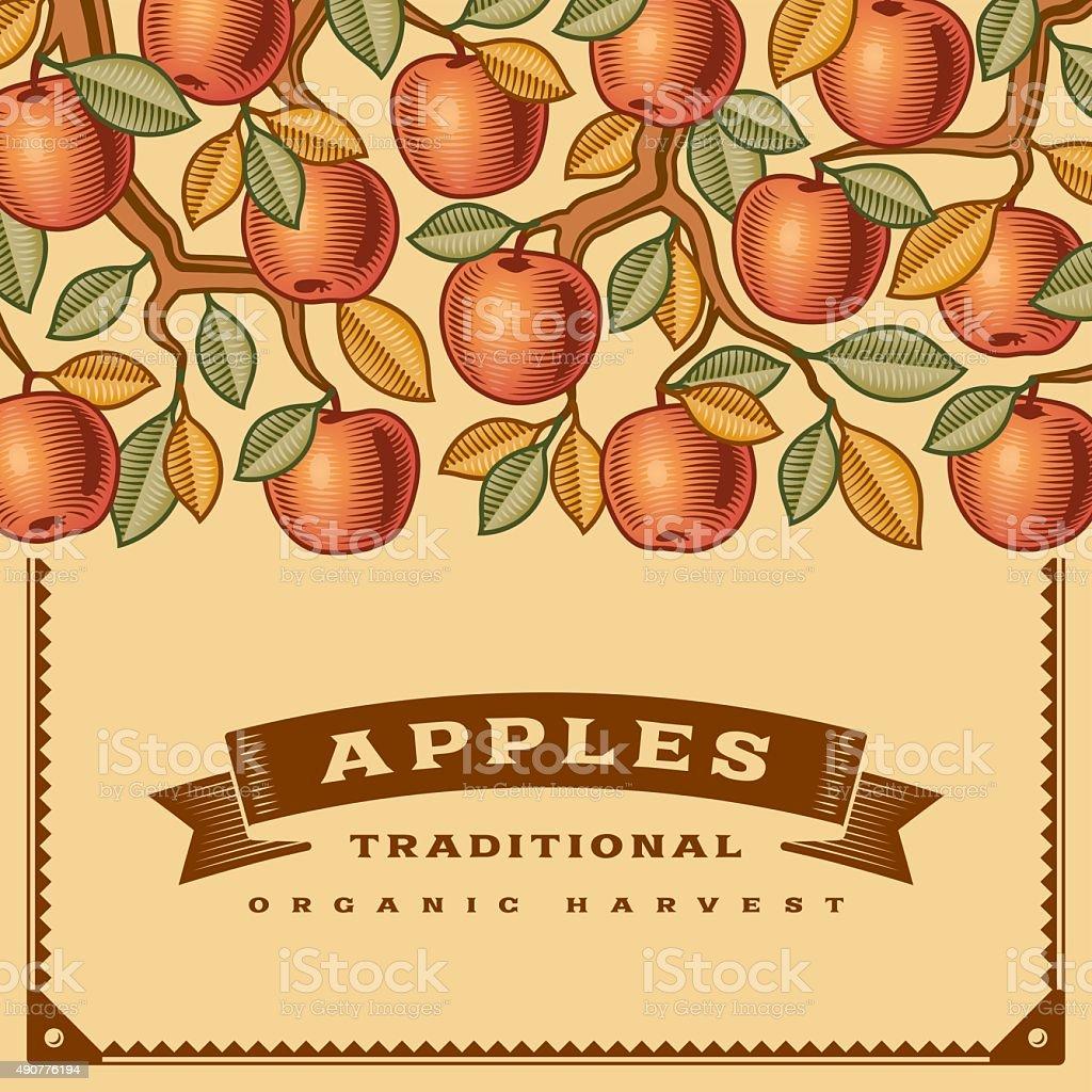 Retro apple harvest card vector art illustration