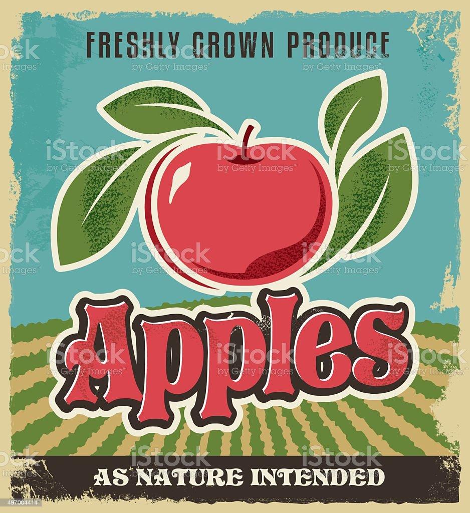 Retro apple vintage advertising poster vector art illustration