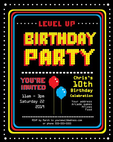 Retro Arcade Birthday Party invitation design template