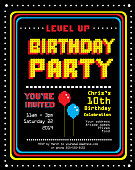 Vector illustration of a Retro Arcade Birthday Party invitation design template. Includes pixelated text and design elements of a retro arcade video game screen. Sample text design. Sample text is Ocra. Easy to edit. EPS 10.