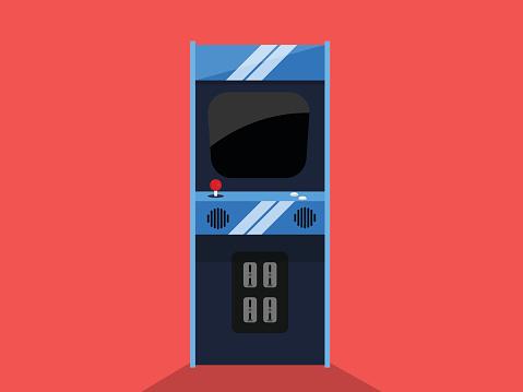 Retro Arcade Game Machine Flat Icon Vector