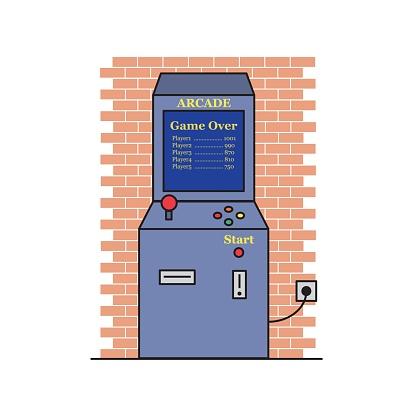 Retro arcade game machine vector