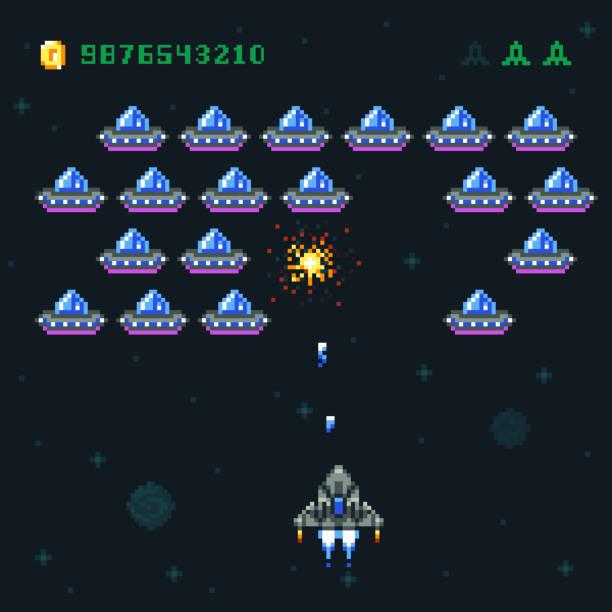 stockillustraties, clipart, cartoons en iconen met retro arcade spel scherm met pixel invallers en ruimteschip. ruimte oorlog 8 bit oude vector computergraphics - buitenaards wezen