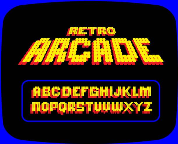 Retro Arcade Gaming font alphabet design set vector art illustration