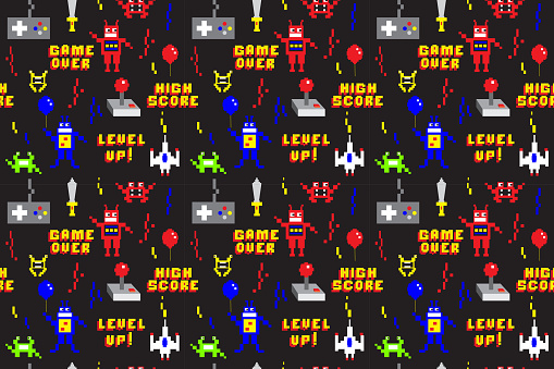 Retro Arcade Gaming repeating seamless pattern background design in pixel style