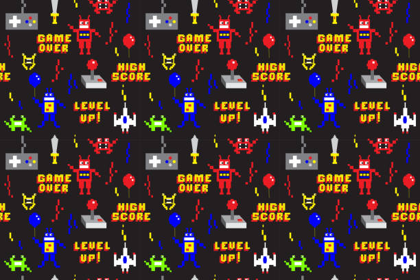 Retro Arcade Gaming repeating seamless pattern background design in pixel style vector art illustration