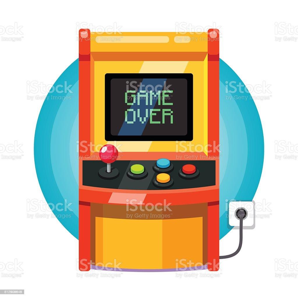 Retro arcade machine plugged in vector art illustration