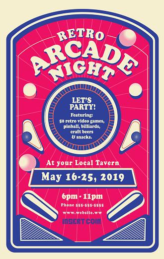 Retro Arcade Night or Gaming poster invitation design template