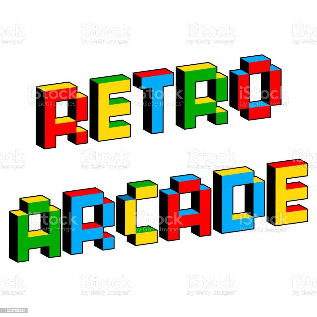 https www istockphoto com tr vekt c3 b6r eski 8 bit video oyunlar c4 b1 tarz c4 b1nda retro arcade metin canl c4 b1 renkli 3d piksel gm1202795232 345461322