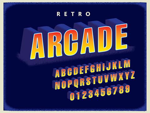 Retro Arcade title screen font alphabet set