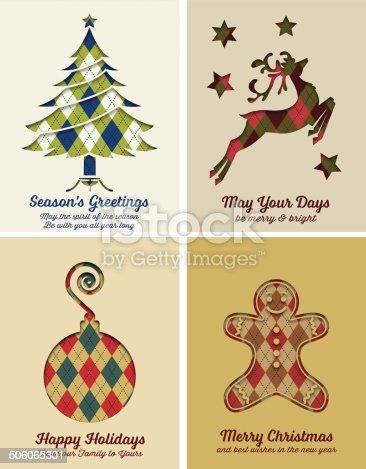istock Retro Argyle Christmas Card Set 506065301