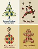 Retro Argyle Christmas Card Set