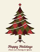 Retro Argyle Christmas card With Tree