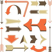 Set of retro style arrow designs.  Each element is grouped and colors are global for easy editing.