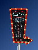 Illustration of Retro arrow light banner karaoke blue background