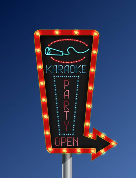 illustrations, cliparts, dessins animés et icônes de bannière de flèche karaoké rétro fond bleu clair - enluminure bordure