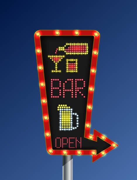 illustrations, cliparts, dessins animés et icônes de flèche de feu rétro bleu fond bannière bar ouvert - enluminure bordure
