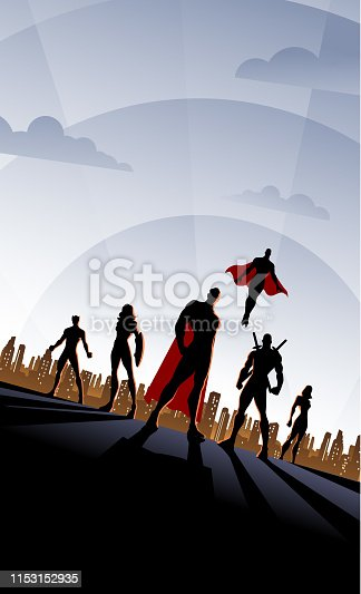 A retro art deco style superhero team poster illustration with city skyline in the background. Wide space available for your copy.