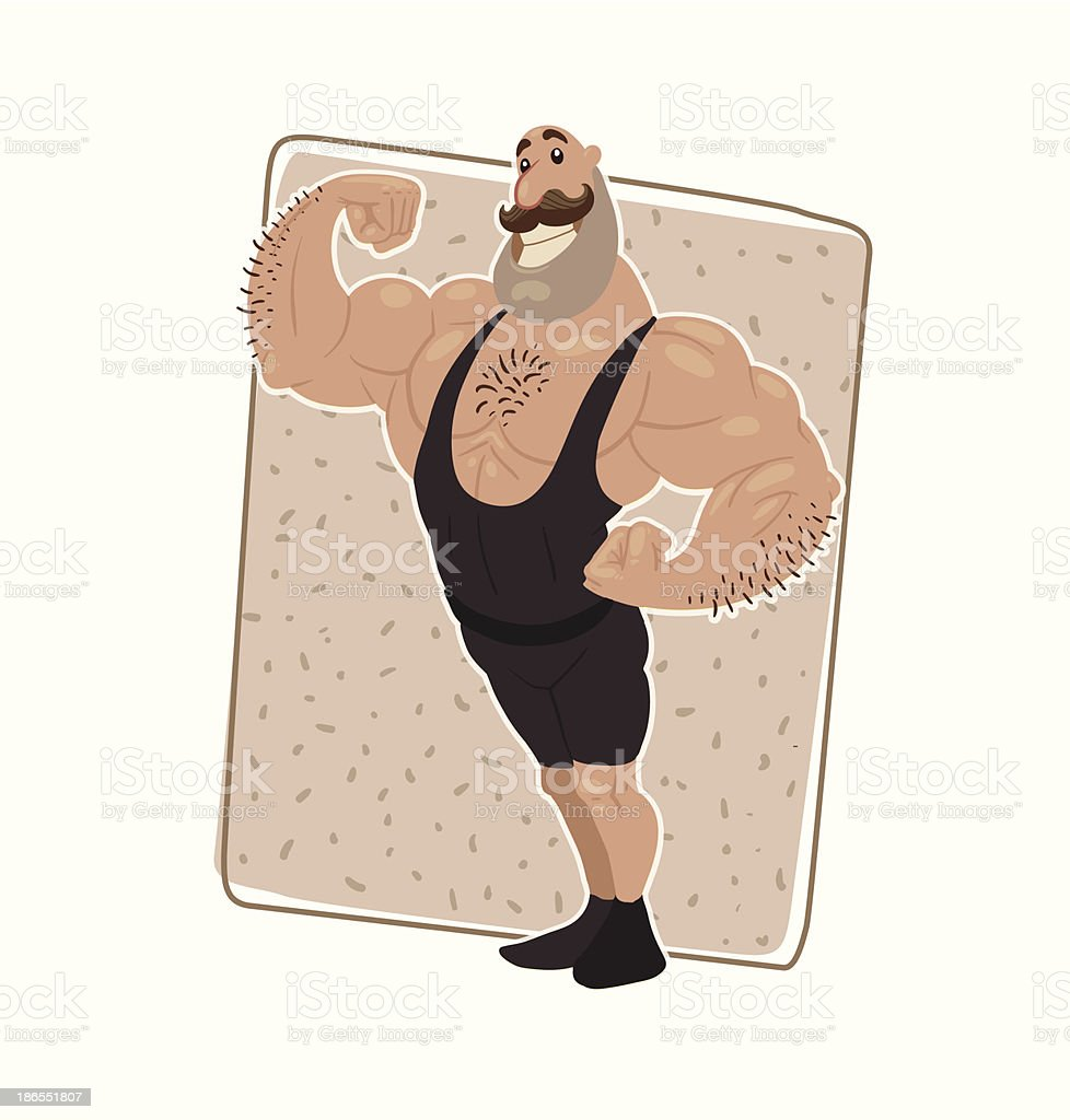Retro athlete in black shorts and a t-shirt vector art illustration