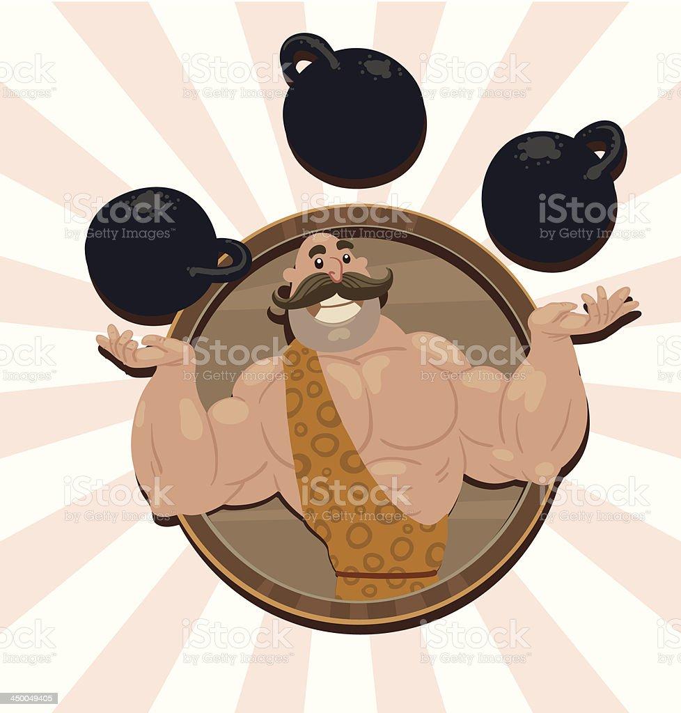 Retro athlete juggles kettlebells, emblem vector art illustration